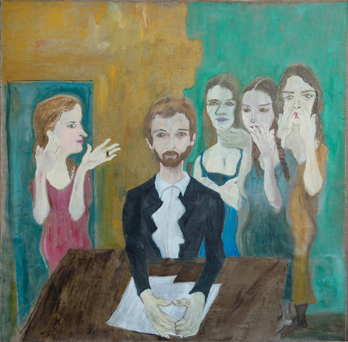 Levan.Chelidze–Gossip Women,–2014, 200x200cm, oil on canvas